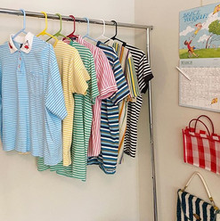 Stripe shirts on rack