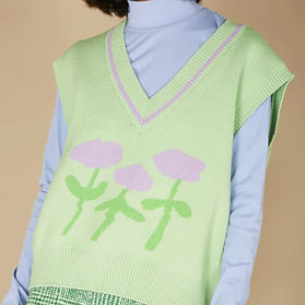 Kina and Tam green and pink sweater vest