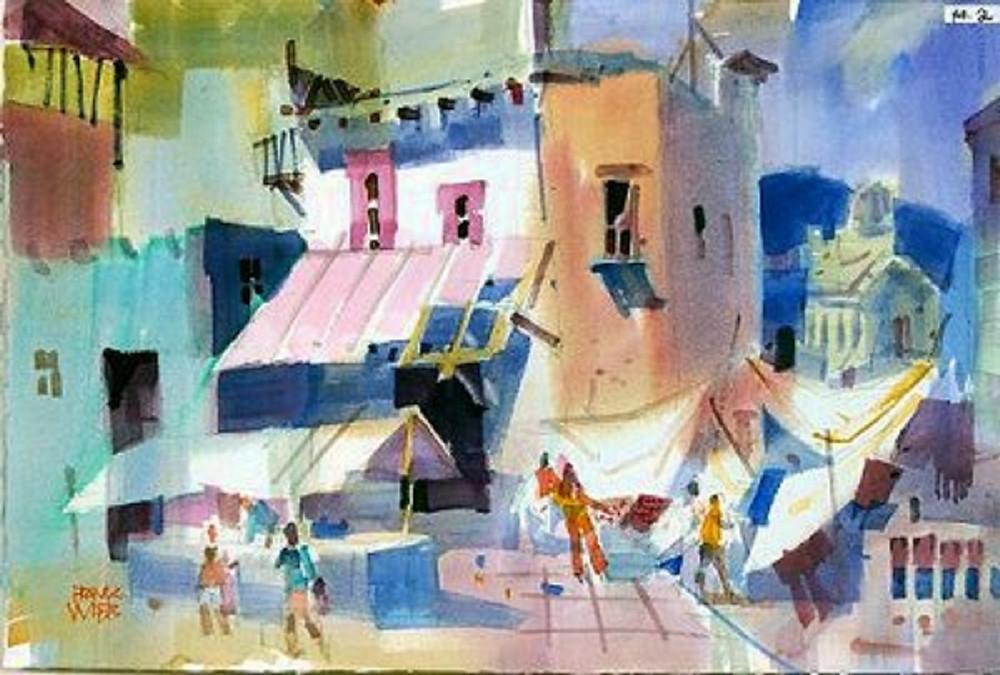 San Miguel Allende watercolour by Frank Webb