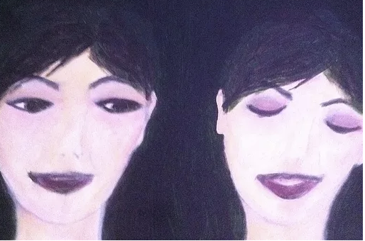 two women painting acrylic
