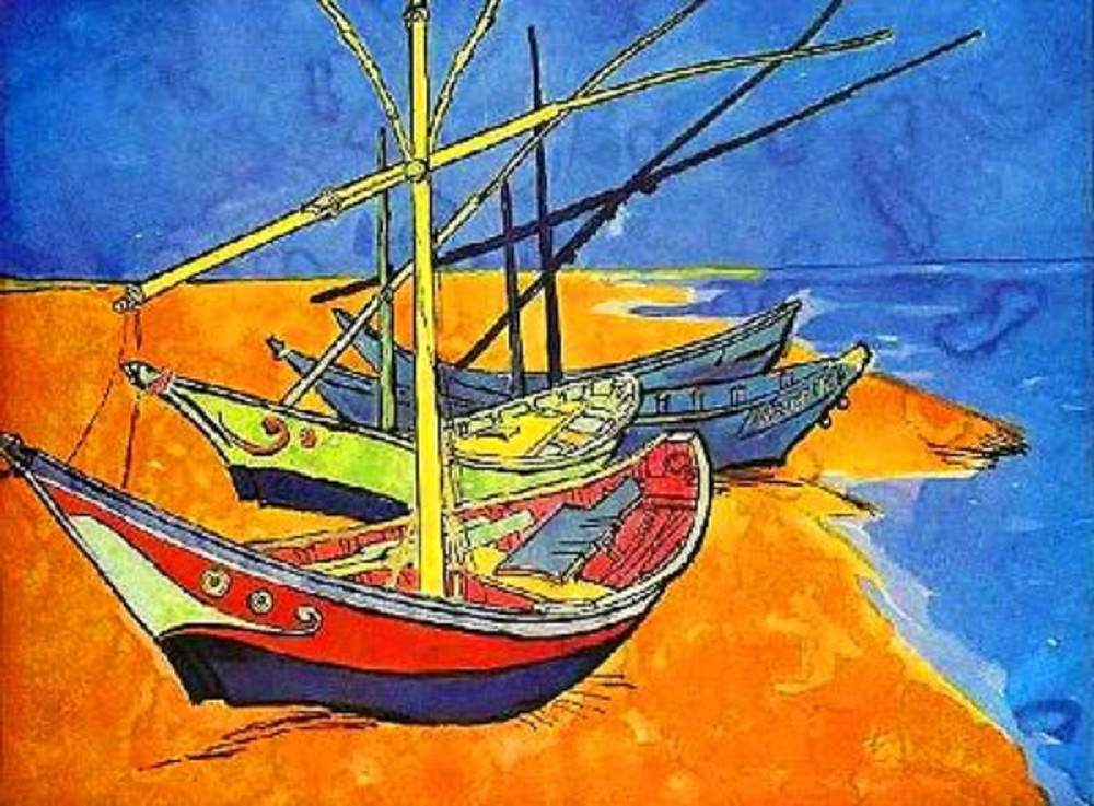Fishing boats on the beach painting by Vincent Van Gogh