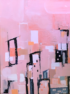 This pink piece deals with 'The Village' and what it takes to raise a child. This abstract piece is interesting and detailed with sections of texture.