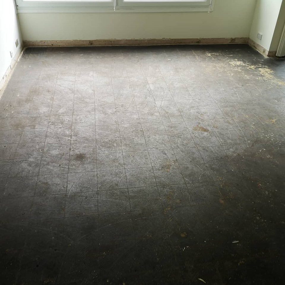 Crysotile floor tile removal