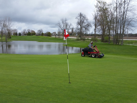 Ongoing course maintenance at Scottish Highlands during lock down. Tim on the greens mower..