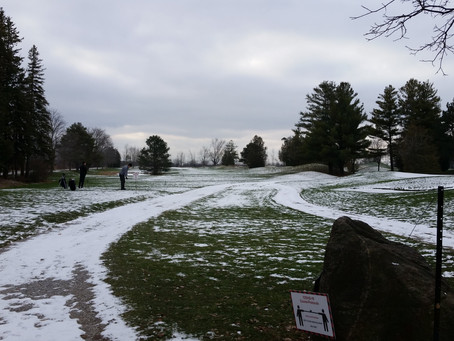 Course open today. Bring your colored golf balls and wear your winter boots.