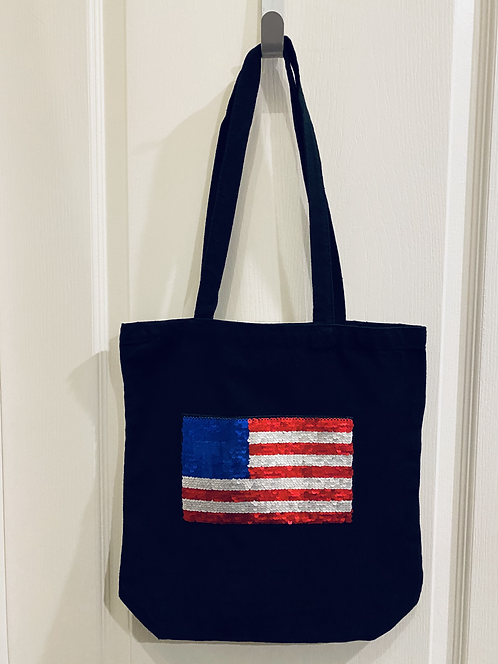 Black Canvas Bag with Flipping Trump to Flag Patch