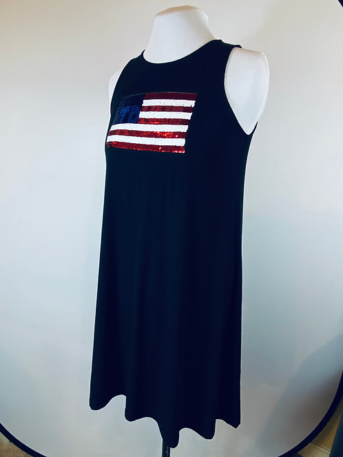 Sleeveless Jersey Swing Dress w/Trump to Flag flip Sequins Pressed & Stitched
