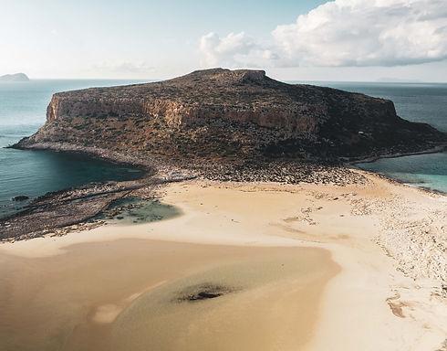 Drone view of Balos beach in Crete