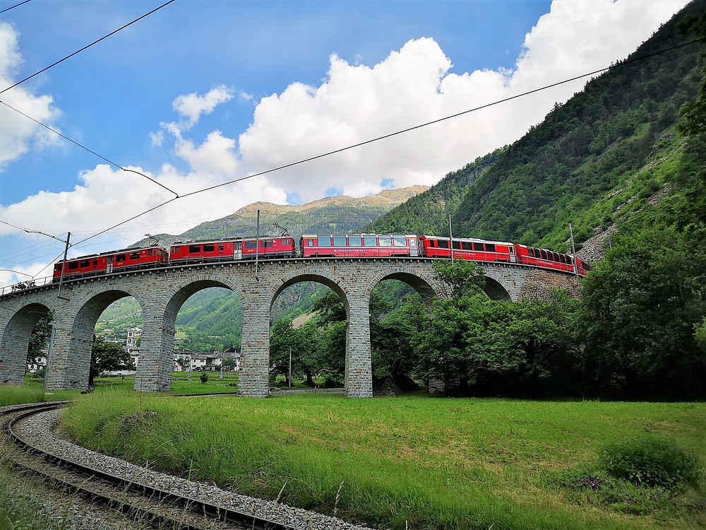 SBB Train on a bridge in Switzerland
