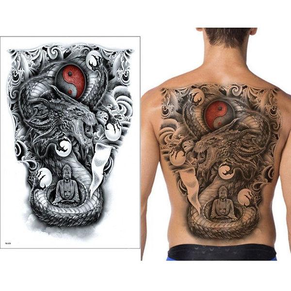 New-Black-tattoos-super-large-48-34cm-Dr