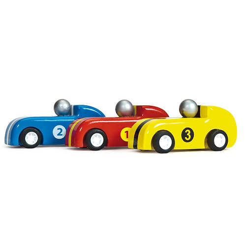 Wooden Pullback Racing Cars