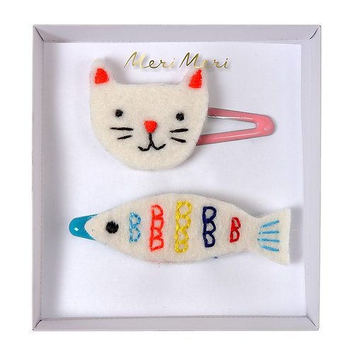 Meri Meri Embroidered Cat & Fish Hair Clips