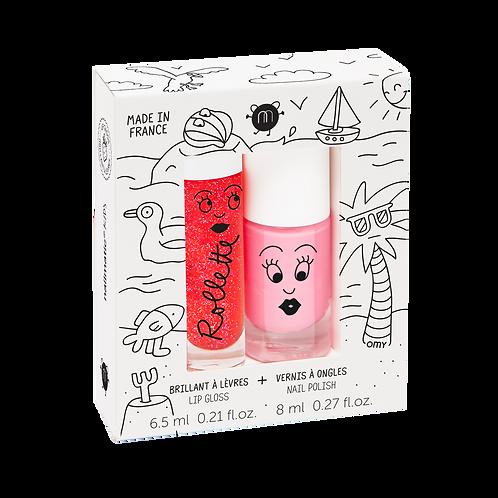 Nailmatic Kids - Duo Lip Gloss & Polish - Holidays (Strawberry/Pink)