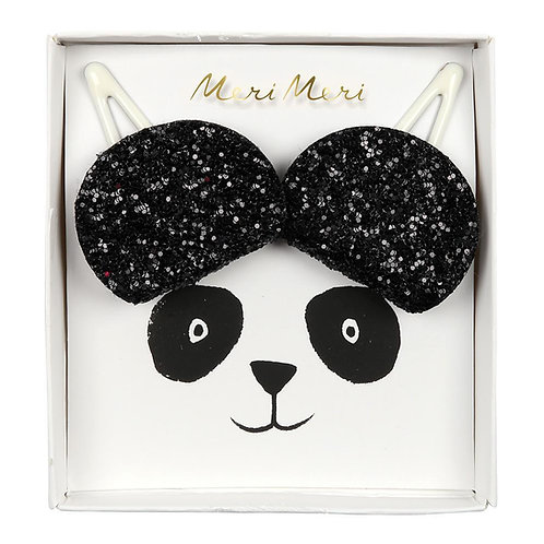 Meri Meri Black Glitter Panda Hair Clips
