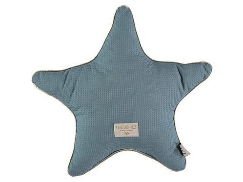 Nobodinoz Blue Organic Cotton Star Cushion