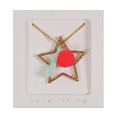 Meri Meri Star pompom and tassel necklace