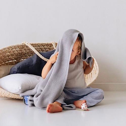 MIMI'lou Grey Cotton Knitted Pom Pom Blanket