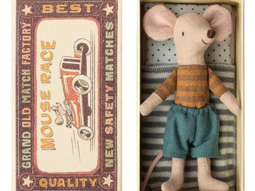 Maileg Handmade Big Brother Mouse in Match Box