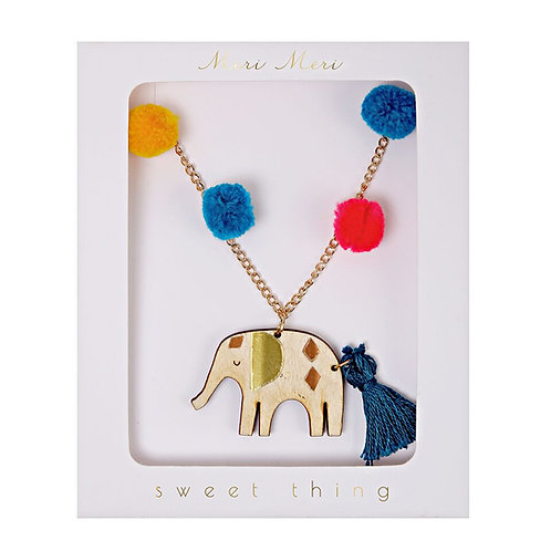 Meri Meri Elephant Pom Pom Necklace