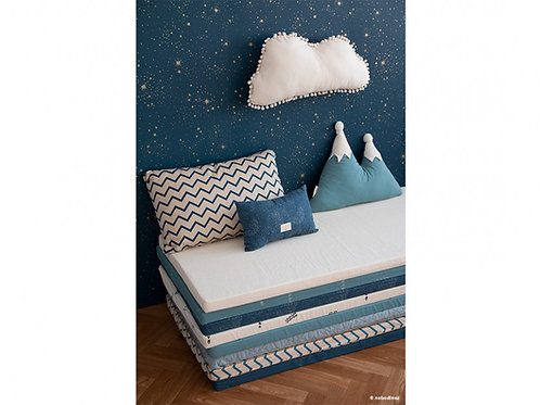 Nobodinoz Natural Organic Cotton Cloud Cushion with Pom Poms