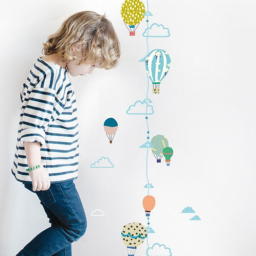 MIMI'lou Hot Air Balloon Wall Height Chart Stickers