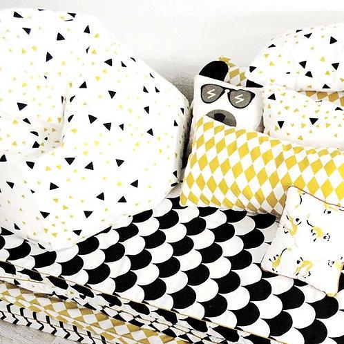 Nobodinoz Gold, Black and White Ditzy Sparks Midi Bean Bag