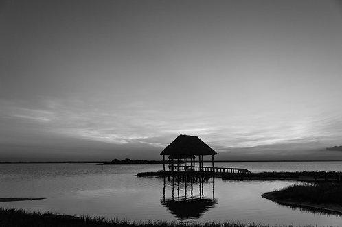 Couché de soleil sur la lagune, tirage 90 X 60 cm, 135 x 90 plein format, Patrick Raymond
