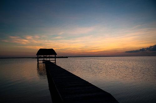 Couché de Soleil sur la Lagune (2) (Yucatan) Tirage 90 X 60 cm, 135 x 90 plein format, Patrick Raymond