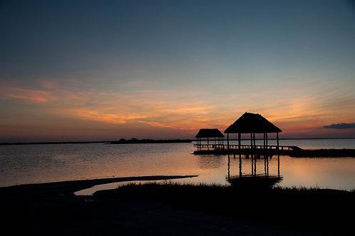 Couché de Soleil sur la Lagune (3) (Yucatan) Tirage 90 X 60 cm, 135 x 90 plein format, Patrick Raymond