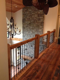 Knotty pine with Steel spindles