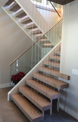 Open-part one-side, open riser stair
