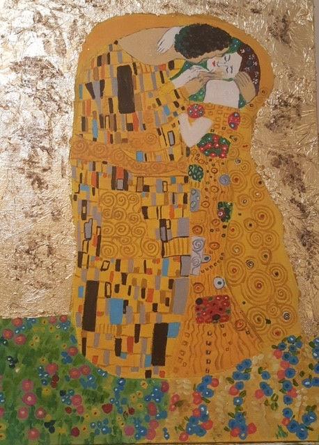 Liz Gustav Klimt acrylic and gold leaf.j