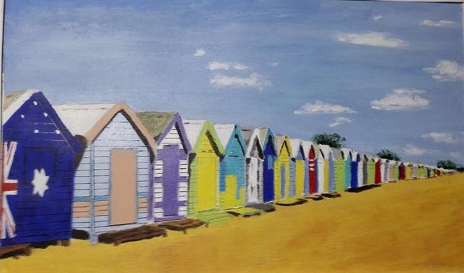 Christina Beach boxes Australia acrylic.