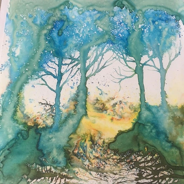 Val The Glade coloured inks on Yupo pape