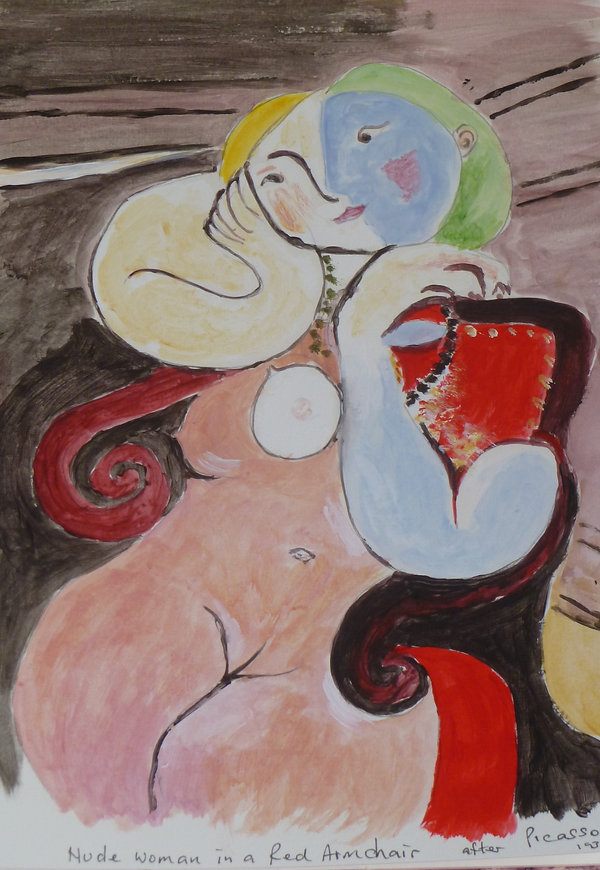 Joan Nude woman in a red armchair after