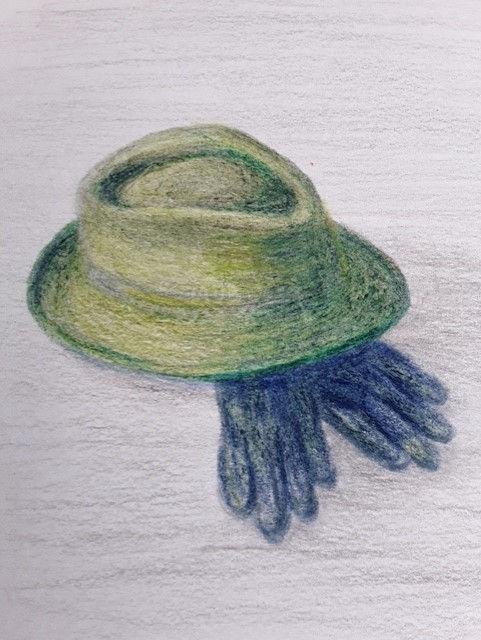 Barbara Hat and gloves pastel pencils.jp