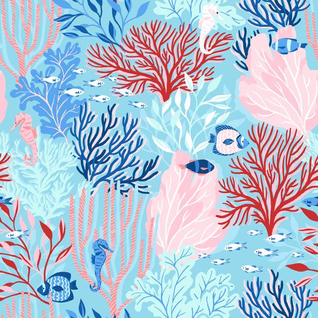 Colorful Sea World Bright Blue