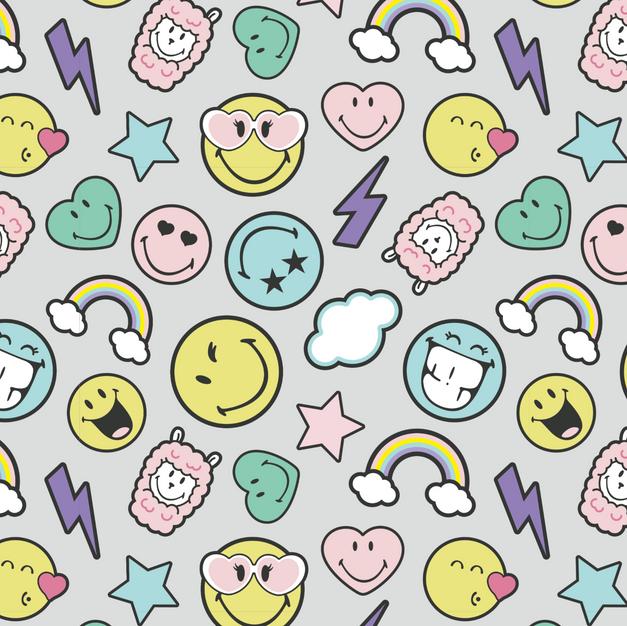Smiley World Minky Fleece Gray