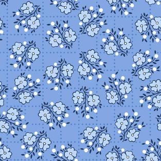 Square Floral Cerulean