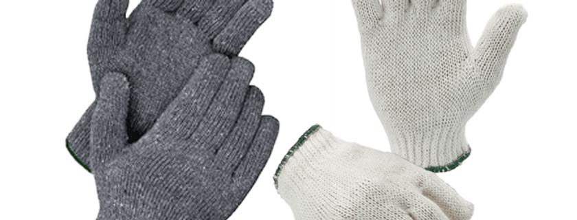 Cotton Gloves (400g) GL02-C400G (White/Green)  GL02-G400G (Gray/Green)