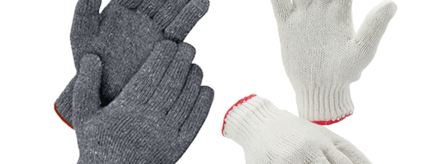 Cotton Gloves (700g) GL02-C700R (White/Red)  GL02-G700R (Gray/Red)