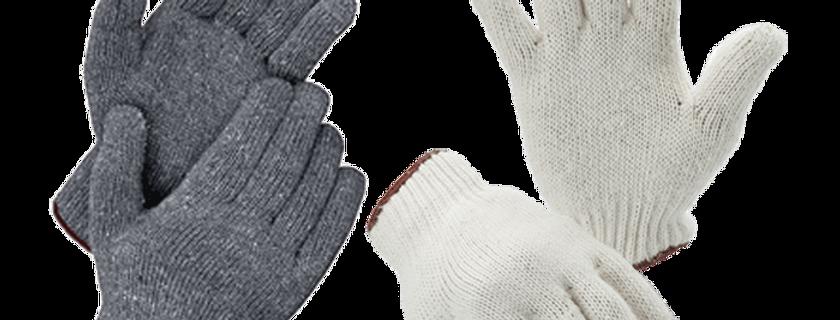 Cotton Gloves (500g) GL02-C500BR (White/Brown)  GL02-G500BR (Gray/Brown)