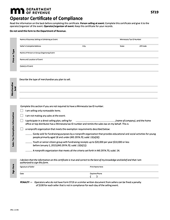 Minnesota Department of Revenue - ST-19