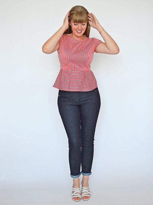Sophia Top - Cherry Stripe