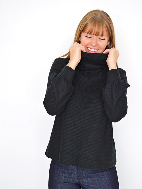 Charlie Turtleneck Sweater - Black Stripe