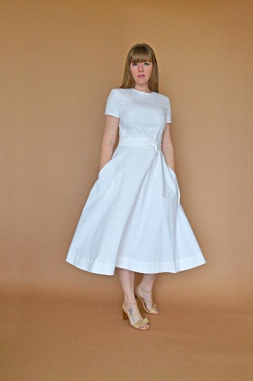 Anna Midi Dress -White Herringbone