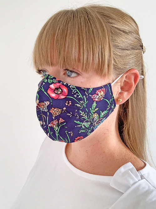 Reversible Face Mask - Navy Floral