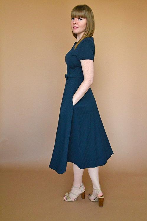 Anna Midi Dress -Navy Stripe
