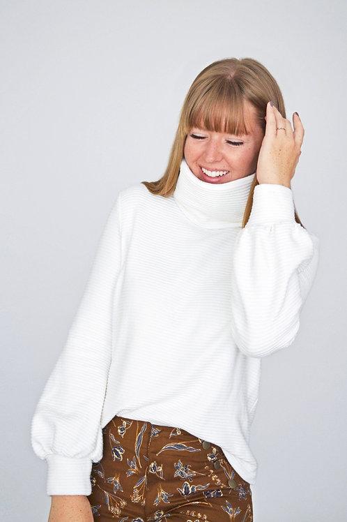 Charlie Turtleneck Sweater - Cream Stripe