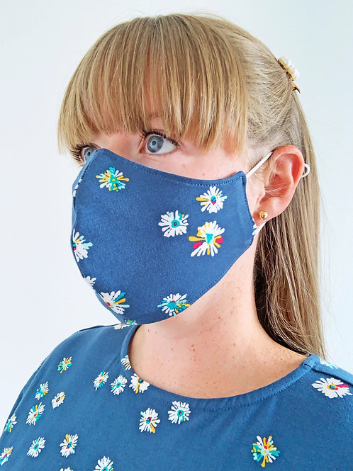 Reversible Face Mask - Blue Floral Jersey